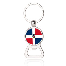Wholesale Photos Cup - 2018 World Cup- The Dominican Republic National Flag Photo Printing Bottle Cap Opener Key Chain,Beer Bottle Opener,Russia FIFA