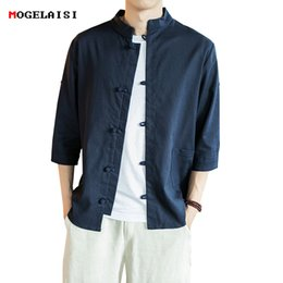 09ce729b37c Linen Cotton Men Shirt Master Clothing Plus 5XL Three Quater Sleeve Flax  Shirt Solid Pocket Slim Retro Shirts Male Size M-5XL S917 flax linen  clothing for ...