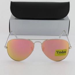 Wholesale Protect Flash - Flash Pink Mirror Pilot Sunglasses Brand Yindot Sun glasses Men Women UV Protect Designer Silver Frame 58mm 62mm Sunglass with Leather Box