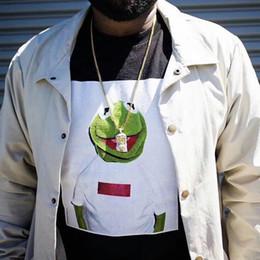Черный ящик t онлайн-17FW шею футболка коробка логотип хлопок Кермит Лягушка с коротким рукавом футболка англичанин тройник мода черный белый HFLSTX021