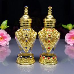 Hermosas botellas al por mayor online-1 unids 8 ml botellas delgadas, botellas de aromaterapia árabe, hermosa botella de vidrio, botellas de perfume de oro de la vendimia al por mayor