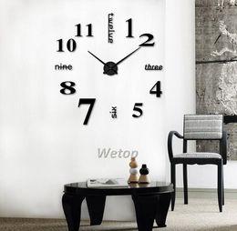 decorazione specchi soggiorno Sconti Orologi da parete al quarzo Home Decor Wall Art Orologi moda 3D Rushed Mirror Sticker Fai da te Living Room Decor