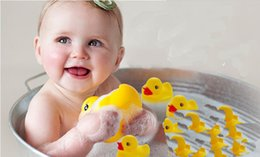 Wholesale mini rubber bath toys - Wholesale 20pcs bag Baby Bath Toy with Sound Kids Mini Yellow Rubber Duck Swimming Bathe Gifts made in china Free Shipping