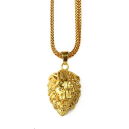 Wholesale Mens Crystal Pendant Necklace - 2018 Mens Gold Lion Head Charm 29.5inch Franco Chain Hip Hop Golden Crown King Lion Pendant Necklace Men Women