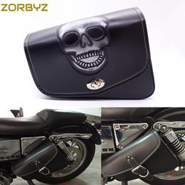 Wholesale xl leather bag - ZORBYZ Black Motorcycle Skull PU Leather Saddlebag Saddle Bag Luggage Bag For Harley Sportster XL 883