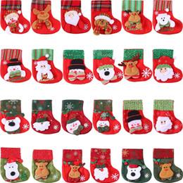 glitterband großhandel rot Rabatt Weihnachtsstrümpfe, 3D Santa Schneemann Besteck Inhaber, kleine Weihnachtsstrümpfe Geschenk und Leckerli Taschen Weihnachten hängende Socken