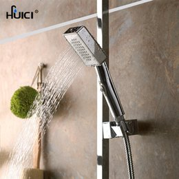 Wholesale Finish Cleaning - HUICI Square Shape Chrome Finished Easy Cleaning Water Saving Shower Head ABS Plastic Handheld With Water Stop Switch