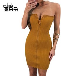 Wholesale Womens Clubwear Dresses - Pndodo Sexy Sleeveless Womens Ribbed Dresses Off Shoulder Cotton Mini Dress Casual Knit Full Front Zipper Short Dress Clubwear