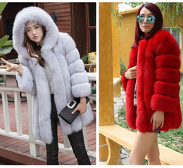 Wholesale White Faux Fox Jacket - 2016 New Fashion Faux Fox Fur Coat Women Winter Medium Long Short Luxury Warm Fur Coats Female Hooded Jacket Overcoat Mink Coat