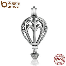 Wholesale Air Stones - BAMOER Hot Sale 925 Sterling Silver Air Balloon Cage Pendant Fit Chain Necklaces for Women Authentic Silver Jewelry SCP002