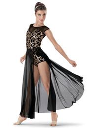 Concours de danse de ballet en Ligne-Adulte Contemporain Dorure Professionnelle Ballet Costumes Long Ballet Justaucorps Pour Les Femmes Ballroom Dance Compétition Robes