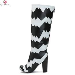 sapatos elegante sapatos senhora Desconto Intenção original new stylish mulheres joelho botas de cano alto patchwork dedo do pé redondo botas de salto quadrado das senhoras shoes plus size eua 4-15