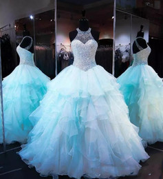 Wholesale Halter Quinceanera Dresses - 2018 Ice Blue Ruffles Organza Ball Gown Quinceanera Dresses Luxury Beads Pearls Bodice Lace Up 16 Sweet Prom Gowns