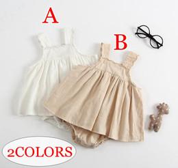 vestidos marrones monos Rebajas ins summer recién nacido 100% mameluco de algodón vestidos marrones blancos 2colors kids chaleco mamelucos monos 0-2years envío gratis