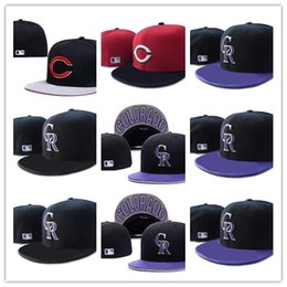 Wholesale Vintage Nhl - Hot Men's M&N Vintage Colorado Rockies Fitted Hats Snapback Logo Embroidery Sport Black Silver Color NHL Fitted Caps Flat Baseball Hats