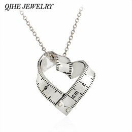 Wholesale Gift Measuring Tape - Wholesale- QIHE JEWELRY Dainty Sweet Love Heart Measuring Tape Pendant Explore Ruler Necklace Vintage Jewelry
