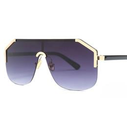 c560e357fda64 One piece lens sunglasses women oversized square 2019 gold black half frame  sun glasses for men gradient uv400