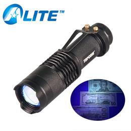 Wholesale Money Detector Uv - [] Zoomable Pocket Led UV Flashlight Torch 365nm Ultra Violet Black Light Maker Fluorescent Money Cash Detector
