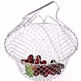 steel netting Promo Codes - Fry Chef Basket Strainer Foldable Telescopic Stainless Steel Baskets Steam Rinse Strain Net Kitchen Cooking Tools Creative 8 7tf VB