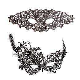 Maschere di occhio di carnevale online-2pcs / lot Masquerade Black Lace Mask Costumi di Halloween Maschera di Carnevale Accessori 2018 Sexy Lace Eye Venetian Masks Party