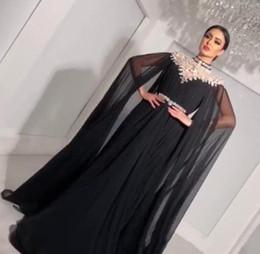 3621b53f91d0 2019 abito in chiffon nero strass Bling Black A Line Abiti da sera 2019 con  collo