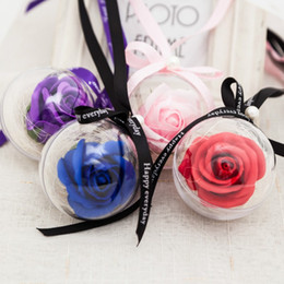 Wholesale Round Soap - Fashion Rose Flower Soap Round Handmade Scented Artificial Decorative Flowers For Christmas Valentines Day Gift Bouquet Pink 3 5dc B