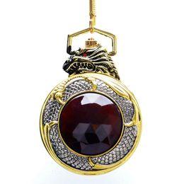 Wholesale quartz garnet - Luxury Evil Dragon Pocket Watch Red Garnet Inset Pendant Quartz Clock Gold Tone Case Black Dial Big Red Crystal New Relogio
