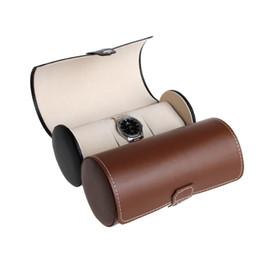 ranuras pc Rebajas 1 PC 3 Slots Watch Display Faux PU Leather Roll Box Coleccionista Organizador Negro / Marrón