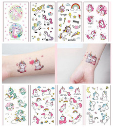Wholesale wall tile art - 1 Pcs Cartoon Unicorn Tattoo For Kid Cute Fake Taty Tatouage Temporaire Body Art Waterproof Temporary Tattoo Sticker Wall Sticker DDA638