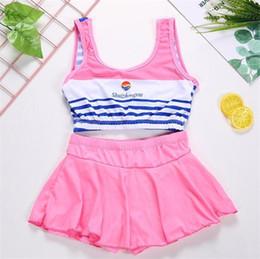 0de1bbab30342 2018 Big Girls Stripe Swimsuit Two-Pieces Kids Swimwear Split Bikini Baby  Children Swimwear Girls Bikini Kids Swimming Suit