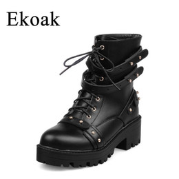 Ekoak Sexy Rivets Mid Heels Motorcycle Boots Lace-Up Autumn Leather Heavy  Metal Platform Ankle Boots for Women Shoes Woman b8ae3f3f84fe