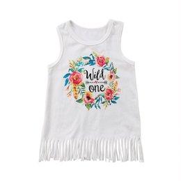 2019 vestiti da partito di cotone per i più piccoli Toddler Girl Princess Abito senza maniche Kid Baby Cotton Party Dress Wedding Sweet Print Tassel White 0-24M vestiti da partito di cotone per i più piccoli economici