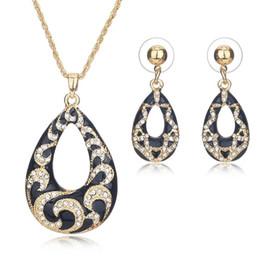 Joyas de oro de imitación online-Joyería AYAYOO nupciales de la joyería de imitación de cristal Rhinestone Mujeres Color Oro joyería de perlas africanas de Nigeria boda