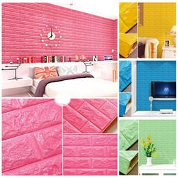 Wholesale Mediterranean Style Bedroom - 70*77cm Waterproof DIY Wallpaper Creativity Decorative Plastic 3d Wall Panels Living Room Free Glue Design 3d Walls Board New 8 5as Z