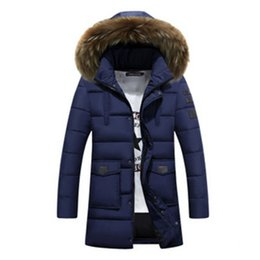 Wholesale Xs Dog Collar Green - 2017 Fashion Winter Parka Men Cotton Padded Long Thick Warm Casual With Raccoon Dog Fur Collar Male Jacket Coat Hat Detachable