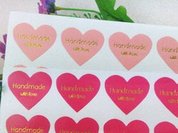 """Wholesale Sticker Text - Pink Color Thermoprinting Gold """"Handmade with love"""" heart-shaped design Stickers Golden text Sticker Labels"""