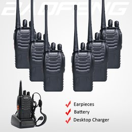 Wholesale Hf Portable Transceiver - 6x Baofeng 888S Walkie Talkie BF-888S Two Way Ham FM Radio Handheld HF 400-470Mhz 16CH Portable CB Transceiver + Free Earpieces