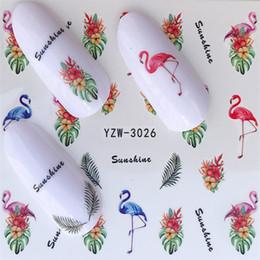2019 penas de flamingo Nova 1 Folha Flamingo Pena Decoração de Unhas Adesivos Coloridos Prego Decalques Bonito Dos Desenhos Animados Ponta Unhas Arte Bonito Animal Beleza Ferramentas desconto penas de flamingo