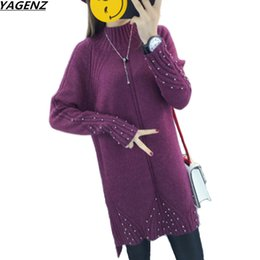 85d497fb77 Winter Sweater New Half-height Collar Knitted Pullover Medium Long Solid  Color Split Pearl Sweater Bottom Shirt Women Clothing