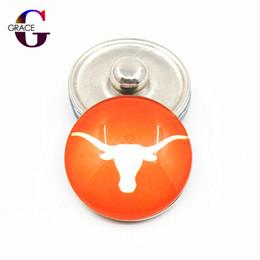 20 unids / lote NCAA Texas Longhorns Team Sports encantos botones a presión de cristal de jengibre Fit 18mm Snap mujeres pulsera del collar del brazalete de la joyería de bricolaje desde fabricantes