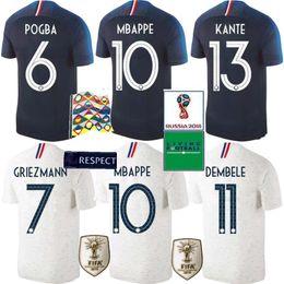 Jerseys europeos de fútbol online-2 estrellas 2018 Copa de Europa MBAPPE home Camiseta de fútbol GRIEZMANN POGBA PAVARD away Camiseta de fútbol blanca 2018 Copa de Europa KANTE football Uniform