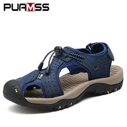 Wholesale Elastic Strap Gladiator - Men Sandals Genuine Leather Cowhide Male Summer Shoes Outdoor Beach Slippers Casual Suede Leather Gladiator Sandals Plus Size 45