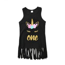 Vestidos de fiesta de la historieta del niño online-Dibujos animados unicornio bebé niñas borla de algodón suave vestido de verano sin mangas encantador princesa camiseta vestido para niños ropa de fiesta vestido de los niños