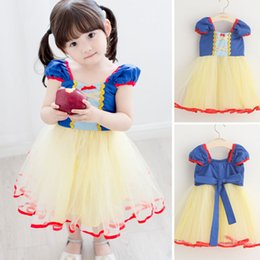 Wholesale Yellow Princess Costume - Baby Girl Princess Bow Dress Costume New Little Girl Summer Clothing Dot Skirt Birthday Party Dress Children's Christmas Clothes 1T-5T