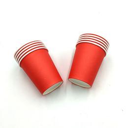 10 PÇS / LOTE VERMELHO SÓLIDO COLOR PAPER CUPS CRIANÇAS FAVORS PURE COLOR PAPER GLASSES 16 CORES BEBENDO COPO VIDROS FESTA FONTES de