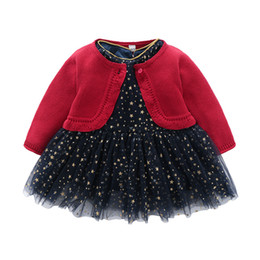 Vestido de suéter de las niñas de tul online-Bebés lentejuelas estrellas encaje tulle vestido de princesa + cuello redondo suéter de manga larga cardigan outwear 2 unids conjuntos niños chirstmas conjuntos F2045