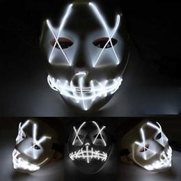 2019 лучший фонарик фонарик Горячая Хэллоуин Маска Эль провод призрак Маска 10 цветов щели рот светящиеся светодиодные маски Хэллоуин косплей партии маски