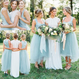 Wholesale White High Low Dresses Cheap - 2018 Cheap Country Wedding Short Bridesmaid Dresses A Line Square Neckline Backless High Low Light Blue Maid of Honor Gowns Plus Size