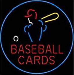 2019 обрамление визитных карточек Бейсбольные карточки неоновая вывеска настоящая стеклянная трубка бар паб магазин Бизнес-Реклама украшения дома искусство подарок дисплей металлический каркас размер 24