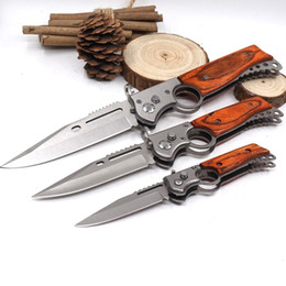 Wholesale Fish Gun Fishing - New Style AK47 Folding Gun Knife Pocket Tactical Knife 440 Blade Wood Handle Survival Knives With LED Light Camping Outdoor Tool
